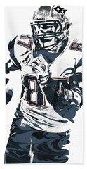 Rob Gronkowski New England Patriots Pixel Art 5 Beach Towel by Joe Hamilton