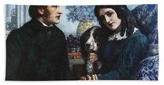 Robert Browning Visits Elizabeth Barrett At 50 Wimpole Street Beach Sheet
