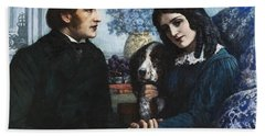 Robert Browning Visits Elizabeth Barrett At 50 Wimpole Street Beach Towel