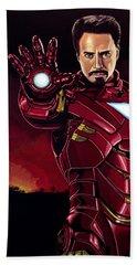 Robert Downey Jr. As Iron Man  Beach Towel