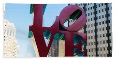 Robert Indiana Love Sculpture Beach Sheet