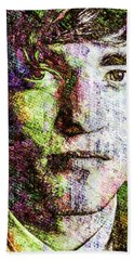 Beach Towel featuring the mixed media Robert Pattinson by Svelby Art