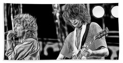 Robert Plant And Jimmy Page Beach Sheet by Marvin Blaine