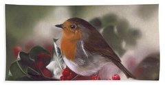 Robin And Berries Beach Sheet