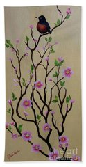 Robin And Spring Blossoms Beach Sheet