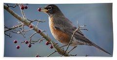 Robin Eating Berries Beach Towel by Inge Riis McDonald