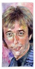 Robin Gibb Portrait Watercolor Beach Towel