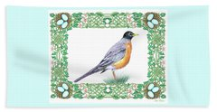 Robin In Spring Beach Towel