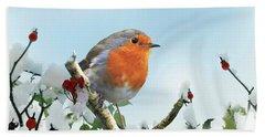 Robin In The Snow Beach Sheet