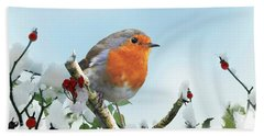 Robin In The Snow Beach Towel
