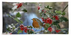 Robin On Holly Branch Beach Towel