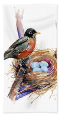 Robin With Nest Beach Towel