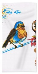 Robins Day Tasks Beach Sheet by Teresa White