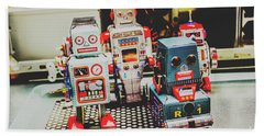 Robots Of Retro Cool Beach Towel