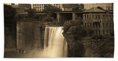 Beach Towel featuring the photograph Rochester, New York - High Falls 2 Sepia by Frank Romeo