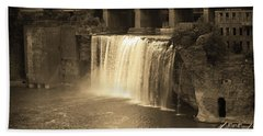 Beach Towel featuring the photograph Rochester, New York - High Falls Sepia by Frank Romeo