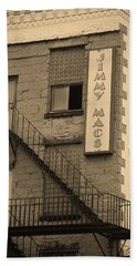 Beach Towel featuring the photograph Rochester, New York - Jimmy Mac's Bar 2 Sepia by Frank Romeo
