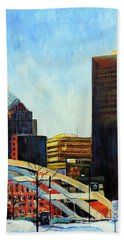 Beach Towel featuring the painting Rochester New York Late Winter by Jodie Marie Anne Richardson Traugott          aka jm-ART
