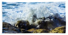Beach Towel featuring the photograph Rock And Wave by Randy Bayne