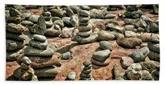 Rock Cairns At Buddha Beach - Sedona Beach Towel