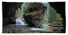 Rock In Johnston Canyon Beach Towel