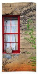 Beach Towel featuring the photograph Rock On A Red Window by James Eddy