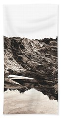 Beach Towel featuring the photograph Rock - Sepia Detail by Rebecca Harman
