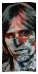 Beach Towel featuring the mixed media Rock Star Tom Petty by Marvin Blaine