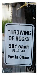 Rock Throwing Charge Beach Towel
