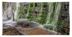 Rock Wall Waterfall Beach Towel