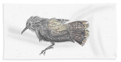 Beach Towel featuring the drawing Rock Wren by Dawn Senior-Trask