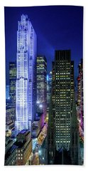 Rockefeller At Night Beach Towel