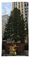 Rockefeller Center Christmas Tree Beach Towel