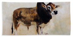 Beach Towel featuring the painting Rocket The Master Champion Herd Sire Miniature Zebu by Barbie Batson