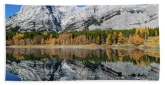 Rockies From Wedge Pond Under Late Fall Colours, Spray Valley Pr Beach Towel