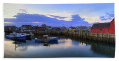 Beach Towel featuring the photograph Rockport Harbor Sunset Panoramic With Motif No1 by Joann Vitali