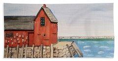 Rockport Motif In Winter Beach Towel