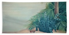 Rocks And Palm Tree Beach Towel