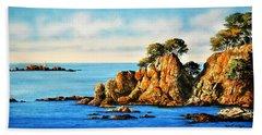 Rocks At Palafrugel,calella, Spain Beach Sheet