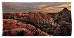 Rocks At Sunrise Beach Towel