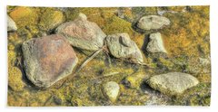 Beach Towel featuring the photograph Rocks In Water by Jim Sauchyn