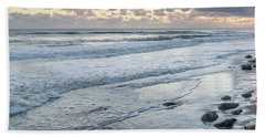 Rocks On The Beach During Sunset Beach Towel