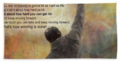 Rocky Balboa Inspirational Quote Beach Sheet