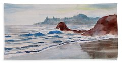 Beach Towel featuring the painting Rocky Beach by Geni Gorani