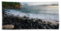 Rocky Beach In Kauai At Sunset Beach Towel