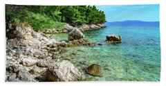 Rocky Beach On The Dalmatian Coast, Dalmatia, Croatia Beach Towel