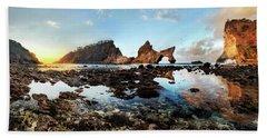 Rocky Beach Sunrise, Bali Beach Towel