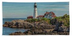 Rocky Coast At Portland Head Light Beach Sheet