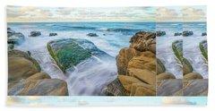 Rocky Coast Collage Beach Sheet
