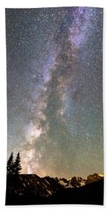 Rocky Mountain Milky Way And Falling Star Beach Towel